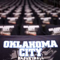 Photo - Shirts sit on seats before the NBA basketball game between the Denver Nuggets and the Oklahoma City Thunder in the first round of the NBA playoffs at the Oklahoma City Arena, Wednesday, April 27, 2011. Photo by Sarah Phipps, The Oklahoman