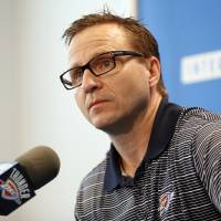 Photo - Coach Scott Brooks speaks to the media during exit interviews for the Oklahoma City Thunder at the team's practice facility in Oklahoma City, Sunday, June 1, 2014. The Photo by Nate Billings, The Oklahoman