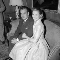 Photo - In this Jan. 5, 1956 file photo, actress Grace Kelly and Prince Rainier III of Monaco, sit arm-in-arm as they meet the press in Philadelphia, Pa, USA. Grace Kelly can bring to mind several things: an Oscar-winning Hollywood actress, a mother, a princess and a Nicole Kidman movie premiering at the Cannes Film Festival on Wednesday, May 14, 2014. (AP Photo)
