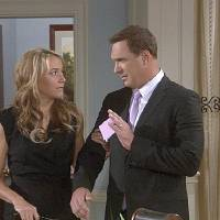 "Photo -  ""Audrey Is Dumb""-- AudreyÕs (Megyn Price) throat surgery makes her unable to speak, much to JeffÕs (Patrick Warburton) delight, on RULES OF ENGAGEMENT, Thursday, Nov. 3 (8:30-9:00 PM, ET/PT) on the CBS Television Network.Photo: Screengrabs/CBS  ©2011 CBS Broadcasting Inc. All Rights Reserved. #ROE"