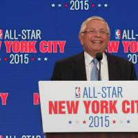 Photo - NBA commissioner David Stern smiles as he speaks during a press conference Wednesday Sept. 25, 2013, in New Yor,k announcing the selection of New York City to host NBA All-Star 2015. The 64th NBA All-Star game is scheduled to be played at New York's Madison Square Garden Sunday Feb. 15, 2015, with Friday and Saturday night events being held at the Barclays Center in the Brooklyn borough of New York. (AP Photo/Tina Fineberg)