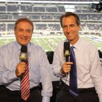 Photo - Al Michaels and Cris Collinsworth will call Super Bowl XLVI for NBC.  Zade Rosenthal - NBC