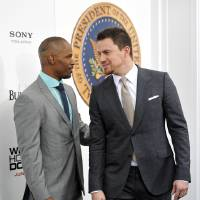 Photo - Actors Jamie Foxx, left, and Channing Tatum attend the