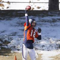 Photo - Denver Broncos quarterback Peyton Manning (18) throws a pass at practice for the football team's NFL playoff game against the San Diego Chargers at the Broncos training facility in Englewood, Colo., on Wednesday, Jan. 8, 2014. (AP Photo/Ed Andrieski)