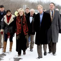 Photo - Governor Mary Fallin tours the U.S. 77/SH39 bridge between Purcell and Lexington and announces plans to repair it on Friday, Feb. 7, 2014 in Lexington, Okla.  Others from left are Engineer Casey Shell, Rep. Lisa Billy, Albert Ashwood, Rep. Bobby Cleveland, J. Michael Patterson, Transportation Department Director and Senator John Sparks.  Photo by Steve Sisney, The Oklahoman