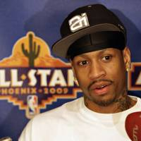 Photo - Detroit Pistons guard Allen Iverson talks to the media Friday, Feb. 13, 2009,  at the NBA All Star basketball game media availability in Phoenix. (AP Photo/Matt York) ORG XMIT: AZMY115