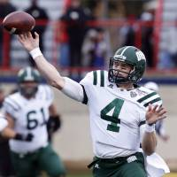 Photo - Ohio quarterback Tyler Tettleton (4) throws a short pass against Louisiana-Monroe during the first quarter of the Independence Bowl NCAA college football game in Shreveport, La., Friday, Dec. 28, 2012. (AP Photo/Rogelio V. Solis)