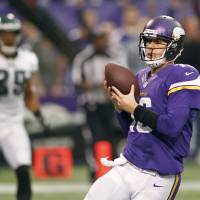 Photo - Minnesota Vikings quarterback Matt Cassel scores on a 6-yard touchdown run during the second half of an NFL football game against the Philadelphia Eagles, Sunday, Dec. 15, 2013, in Minneapolis. (AP Photo/Andy King)
