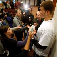 Photo - OU, COLLEGE BASKETBALL: University of Oklahoma forward Blake Griffin answers questions after announcing he will return for his sophomore season in Norman, Oklahoma on Wednesday, April 9, 2008.    BY STEVE SISNEY, THE OKLAHOMAN ORG XMIT: KOD