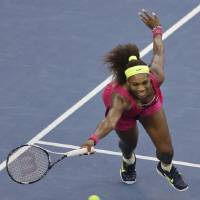 Photo -   Serena Williams returns a shot to Italy's Sara Errani during a semifinal match at the 2012 US Open tennis tournament, Friday, Sept. 7, 2012, in New York. Williams won the match. (AP Photo/Mike Groll)