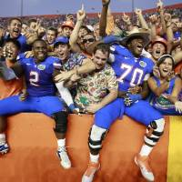 Photo -   Florida's Dominique Easley (2) and D.J. Humphries (70) celebrate with fans after defeating South Carolina 44-11 in an NCAA college football game, Saturday, Oct. 20, 2012, in Gainesville, Fla.(AP Photo/John Raoux)