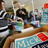 Photo -      Oklahoma City Mayor Mick Cornett, who is running for re-election, showed up Jan. 25 at his campaign office near NW 50 and May Avenue to work with campaign staffers and volunteers at a work day event. Photo by Jim Beckel, The Oklahoman   Jim Beckel -  THE OKLAHOMAN