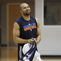 Photo - Oklahoma City Thunder's Derek Fisher walks off the court following NBA basketball practice in Oklahoma City, Friday, May 11, 2012. The Thunder will have had eight full days off when they start the Western Conference semifinals on Monday night against either the Denver Nuggets or the Los Angeles Lakers. (AP Photo/Sue Ogrocki)  ORG XMIT: OKSO108