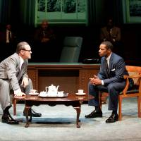 Photo - This theater image released by Columbia University shows Jack Willis as Lyndon Johnson, left, and Kenajuan Bentley as the Rev. Martin Luther King Jr. in a scene from
