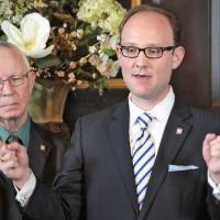 Photo - Democratic Minority Leader Scott Inman speaks at a  news conference in March.