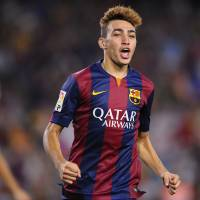 Photo - FC Barcelona's Munir reacts after scoring against Elche during a Spanish La Liga soccer match at the Camp Nou stadium in Barcelona, Spain, Sunday, Aug. 24, 2014. (AP Photo/Manu Fernandez)