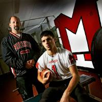 Photo - Morrison High School football coach Cory Bales and Ricky Holba, from left, pose for a photo at the Morrison High School field house on Wednesday, Nov. 28, 2007, in Morrison, Okla. Morrison will be playing in the school's final eight-man game during the Class B Championship, before moving to 11-man next season.   STAFF PHOTO BY CHRIS LANDSBERGER/THE OKLAHOMAN ORG XMIT: KOD