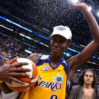 Photo - FILE- In this Aug. 31, 2002, file photo, Los Angeles Sparks' Lisa Leslie celebrates after the Sparks beat the New York Liberty 69-66 in Game 2 to win the WNBA Finals championship in Los Angeles. Leslie headlines the 2015 women's basketball Hall of Fame induction class announced Saturday, July 19, 2014,  She is joined by former Houston Comets star Janeth Arcain, University of Georgia standout Janet Harris, former Duke coach Gail Goestenkors, longtime Oregon high school coach Brad Smith and Oklahoma State coach Kurt Budke, who was killed in a plane crash in 2011. (AP Photo/Lucy Nicholson, File)