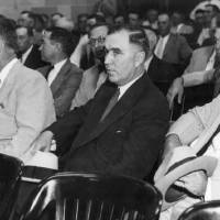 Photo - Oklahoma City oil man Charles F. Urschel (center, dark suit) during the famous kidnapping trial in Oklahoma City.