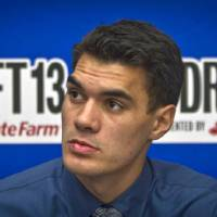 Photo - Pittsburgh's  Steven Adams listens during a press availability for NBA basketball draft prospects on Wednesday, June 26, 2013 in New York.  (AP Photo/Bebeto Matthews) ORG XMIT: NYBM205