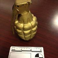 Photo - An inert grenade found in the carry-on bag of Wayne Coyne at the Oklahoma City airport.  Photo provided by the TSA