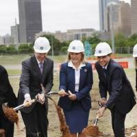 Photo - Governor Mary Fallin, center, GE's chief technology officer Mark Little, left, and Lorenzo Simonelli, president and CEO, GE Oil and Gas broke ground for their new Global Research Center in Oklahoma City, Monday May 12, 2014. Photo By Steve Gooch, The Oklahoman
