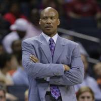 Photo - In this Wednesday, April 17, 2013 file photo, Cleveland Cavaliers head coach Byron Scott looking on during the first half of an NBA basketball game against the Charlotte Bobcats in Charlotte, N.C. The Cleveland Cavaliers have fired coach Byron Scott after three losing seasons. (AP Photo/Chuck Burton, File)