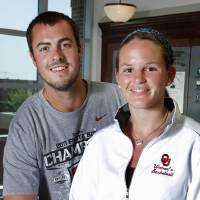 Photo - Recently engaged Whitney Hand and Landry Jones on Tuesday, July 5, 2011, in Norman, Okla.   Photo by Steve Sisney, The Oklahoman ORG XMIT: KOD