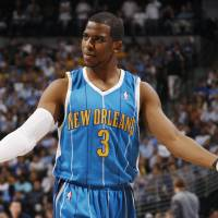 Photo - New Orleans Hornets guard Chris Paul looks for a call from the officials as the Hornets play the Denver Nuggets in the first quarter of Game 5 in an NBA first-round playoff basketball series in Denver on Wednesday, April 29, 2009. (AP Photo/Jack Dempsey) ORG XMIT: CODZ124