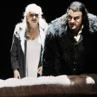 Photo - In this undated photo provided by the Opernhaus Zurich Bryn Terfel in the role of the Hollaender (Dutchman), right, and Anja Kampe as Senta, left, perform on stage during a dress rehearsal for Richard Wagner's opera
