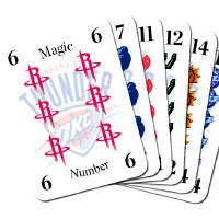 Photo - PLAYOFFS / GRAPHIC:  OKLAHOMA CITY THUNDER BASKETBALL TEAM - Playing cards with other NBA team logos