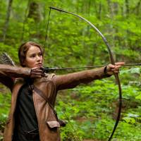 Photo -   In this image released by Lionsgate, Jennifer Lawrence portrays Katniss Everdeen in a scene from