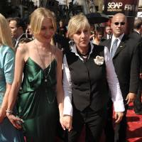 Photo -  Ellen DeGeneres and Portia de Rossi, left, arrive at the Daytime Emmy Awards on Friday June 20, 2008 in Los Angeles. (AP Photo/Chris Pizzello) ORG XMIT: CADC123