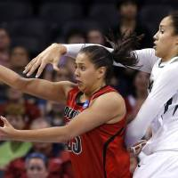 Photo -  Louisville's Shoni Schimmel (23) makes a shot as Baylo's Brittney Griner (42) defends during college basketball game between Baylor University and the Louisville at the Oklahoma City Regional for the NCAA women's college basketball tournament at Chesapeake Energy Arena in Oklahoma City, Sunday, March 31, 2013. Photo by Sarah Phipps, The Oklahoman