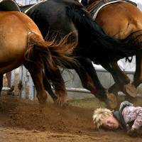 Photo -  IFYR: Stetson Cravens of Eufaula, Okla. falls to the ground after being dragged by a bucking bronc during the bareback bronc at the International Finals Youth Rodeo in Shawnee, Okla. Thursday, July 16, 2009.  Photo by Ashley McKee, The Oklahoman   ORG XMIT: KOD