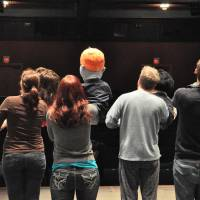 "Photo - Above: Cast members, from left, Gwendolyn Evans, Crystal Ecker, Lane Fields and Jared Blount, rehearse for a production of ""Avenue Q"" at The Pollard Theatre in Guthrie.  PHOTO BY JONATHAN SUTTON,  THE OKLAHOMAN"