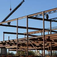 Photo - The framework is taking shape at East Side Elementary School, one of four elementary schools in the Midwest City-Del City Public Schools system undergoing major expansion or renovation.