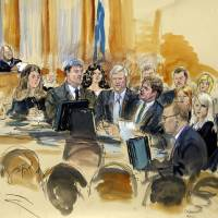 Photo - In this courtroom sketch at the federal corruption trial of former Virginia Governor Robert F. McDonnell, center, and his wife, former first lady Maureen McDonnell, second from right, Judge James R. Spencer, left, presides during jury selection Monday, July 28, 2014, in Richmond, Va. Bob and Maureen McDonnell are charged in a 14-count indictment with accepting more than $165,000 in gifts and loans from the CEO of a dietary supplements company in exchange for helping promote his products. The defense team is gathered at a courtroom table and includes Victoria Taraktchian, John L. Brownlee, Robert McDonnell, Henry W.