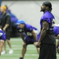 Photo -   Minnesota Vikings wide receiver Percy Harvin watches during NFL football practice, Wednesday morning, June 20, 2012, in Eden Prairie, Minn. Harvin voiced frustration with the Vikings on Tuesday, the first day of mandatory minicamp. He did not say what his specific issues were with the team, only saying that he was unhappy with several things and wanted them addressed before training camp begins at the end of July. (AP Photo/Jim Mone)