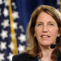 Photo - Health and Human Services Secretary Sylvia Burwell speaks at a news conference at the Treasury Department in Washington, Monday, July 28, 2014, to discuss the release of the annual Trustees Reports. (AP Photo/Susan Walsh)