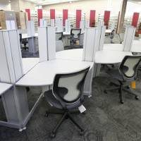 Photo - New computer desks are seen Wednesday inside the remodeled Southern Oaks Library in south Oklahoma City.