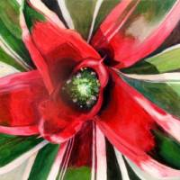 "Photo - ""Bromeliad 3 (Large Red),"" an acrylic on panel by John Wolfe."
