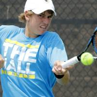 Photo - CLASS 5A HIGH SCHOOL TENNIS / STATE TOURNAMENT: Heritage Hall's Luke Howard competes against Metro's Mitchel Knight during the 5A boys Oklahoma High School Tennis Tournament at the Oklahoma City Tennis Center in Oklahoma City, OK, Monday, May 14, 2012,  By Paul Hellstern, The Oklahoman