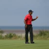 Photo - Tiger Woods of the US holds up his ball after putting out on the 13th green during the final round of the British Open Golf championship at the Royal Liverpool golf club, Hoylake, England, Sunday July 20, 2014. (AP Photo/Jon Super)