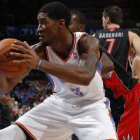 Photo - Oklahoma City's Perry Jones III (3) moves towards the basket during an NBA basketball game between the Oklahoma City Thunder and the Toronto Raptors at Chesapeake Energy Arena in Oklahoma City, Tuesday, Nov. 6, 2012.  Tuesday, Nov. 6, 2012. Oklahoma City won 108-88. Photo by Bryan Terry, The Oklahoman