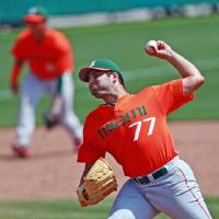 Photo - Miami's Bryan Radziewski (77) throws against Clemson during the fifth inning in a college baseball game, Sunday, April 27, 2014, in Clemson, S.C.. (AP Photo/The Independent-Mail, Ken Ruinard) THE GREENVILLE NEWS OUT, SENECA NEWS OUT