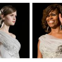 Photo - FILE - This two-picture combo of file photos shows a model walking the runway during the Marchesa Fall 2013 fashion show at Fashion Week in New York, Feb. 13, 2013, left, and first lady Michelle Obama waving as she arrives at the White House Correspondents' Association (WHCA) Dinner in Washington, May 2, 2014. First lady Michelle Obama in a Marchesa gown at the White House Correspondents' Association dinner, her gown was a custom version of a dress from the Marchesa Fall 2013 collection shown on the runway.  (AP Photo/File)