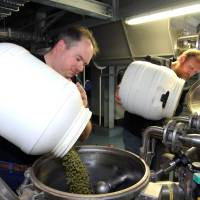Photo -   Alexis Briol, of Brasserie St-Feuillien in Belgium, left, and Green Flash brewmaster Chuck Silva, pour hop pellets into a batch of beer. San Diego-based Green Flash is making and selling fresh beer in the European market under a handshake deal with Brasserie St-Feuillien.  AP Photo   uncredited -  AP