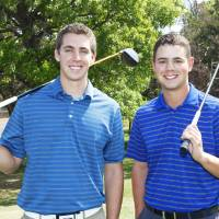 Photo - UCO golf management students Clay Madden and Justin McCormick are seen at Kickingbird Golf Course in Edmond. Photo By David McDaniel/The Oklahoman  David McDaniel - The Oklahoman