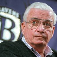 Photo - FILE - In this Dec. 28, 1998, file photo. Baltimore Ravens owner Art Modell listens to a question during a news conference at the NFL football team's training facility in Owings Mills, Md. Cleveland Browns fans hope Modell is not voted into the Pro Football Hall of Fame on Saturday when a committee choses this yearís class from a list of 15 finalists that includes coach Bill Parcells, former 49ers owner Ed DeBartolo Jr., single-season sacks leader Michael Strahan and Ravens tackle Jonathan Ogden. (AP Photo/John Gillis, File)